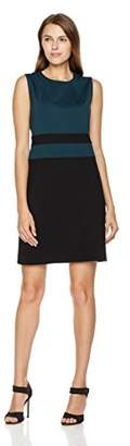 Savoir Faire Dresses Women's Sleeveless Color Block Ponte Roma Fitted Dress