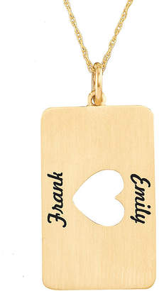 JCPenney FINE JEWELRY Personalized 10K Yellow Gold Rectangular Heart Cutout Pendant Necklace