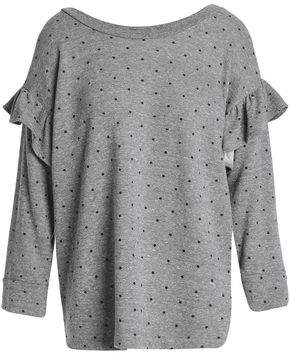 Current/Elliott Ruffle-Trimmed Printed French Cotton-Blend Terry Sweatshirt