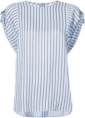 Tibi striped buckle sleeve T-shirt