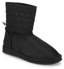 Love Moschino Faux Fur-Lined Embroidered Booties