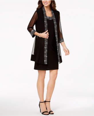 R & M Richards Metallic-Embellished Dress & Jacket