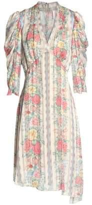 Anna Sui Asymmetric Printed Satin Dress