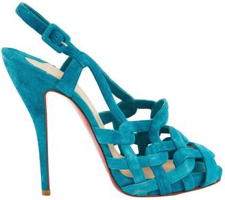 Christian Louboutin Turquoise Suede Sandals