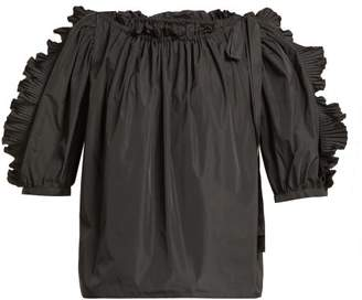 See by Chloe Puffed Sleeve Taffeta Top - Womens - Black
