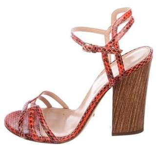 Sergio Rossi Snakeskin Multi-Strap Sandals