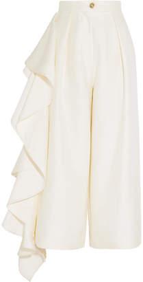 SOLACE London Ruffled Crepe Culottes - Cream