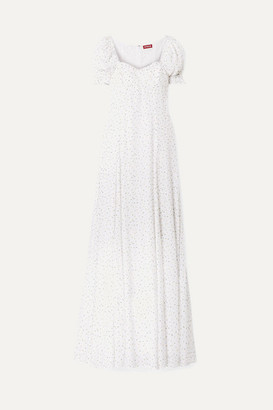 STAUD Pelicano Printed Gauze Maxi Dress - White