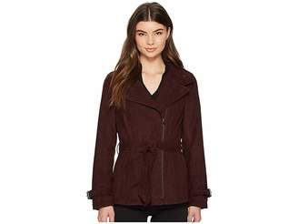 Kenneth Cole New York Faux Suede Moto Trench Women's Coat
