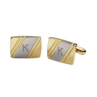Asstd National Brand Personalized Two-Tone Facet-Cut Cuff Links