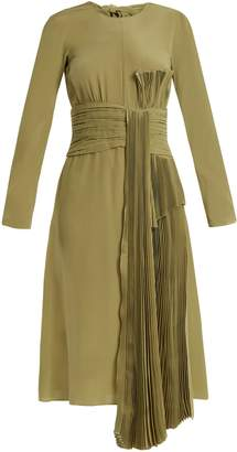 Rochas Pleated-drape silk crepe de Chine dress