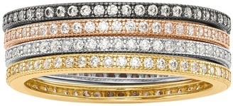 Sterling Set of 4 Crystal Eternity Band Ring