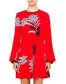 Diane von Furstenberg L/S Crewneck Mini Dress