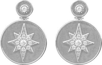 Latelita - Star Burst Brushed Metal Coin Drop Earring Silver