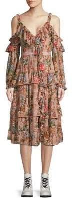 Needle & Thread Paradise Rose Ruffled Fit Flare Dress