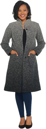 Halston H By H by Ombre Snap Front Faux Wool Coat