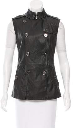 Burberry Leather Double-Breasted Vest