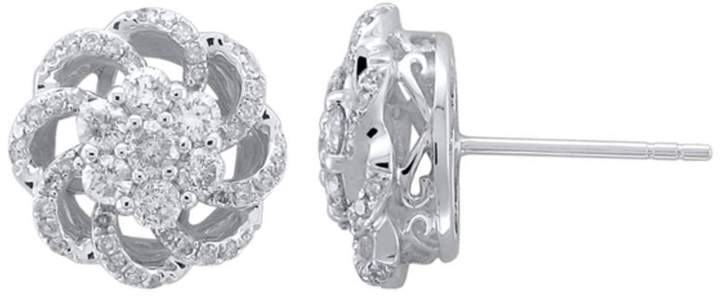 Zales 1 CT. T.W. Diamond Pinwheel Stud Earrings in 10K White Gold