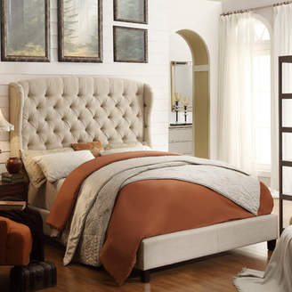 Three Posts Leatham Queen Upholstered Wood Platform Bed