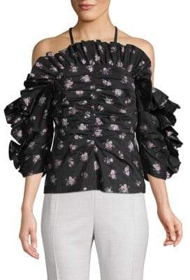 Rebecca Taylor Floral Jacquard Off-The-Shoulder Blouse
