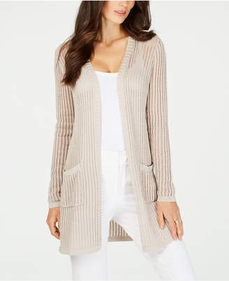Charter Club Petite Vertical-Stitch Metallic Cardigan