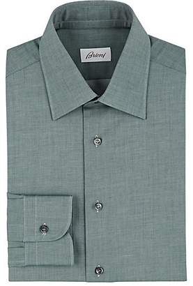 Brioni MEN'S MÉLANGE COTTON TWILL SHIRT - GREEN SIZE 15 R