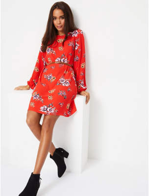 George Red Floral Print Belted Shift Dress