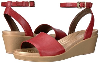Crocs - Leigh-Ann Ankle Strap Leather Women's Wedge Shoes $65 thestylecure.com