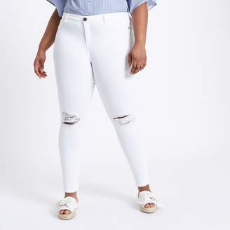 River Island Womens Plus white molly ripped jeans