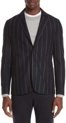Eleventy Slim Fit Stripe Wool & Linen Sport Coat