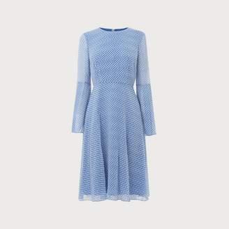 LK Bennett Abbie Blue White Silk Dress