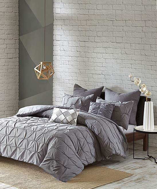 Gray Gathered Tufts Duvet Cover Set