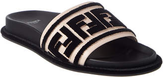 Fendi Ff Leather & Velvet Slide Sandal