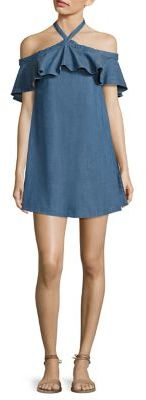 Alice + Olivia Alexia Off-The-Shoulder Chambray Halter Dress $265 thestylecure.com