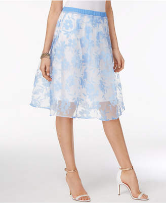 NY Collection Floral-Print Illusion A-Line Skirt $60 thestylecure.com