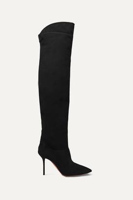 Aquazzura Lancaster 95 Suede Knee Boots - Black