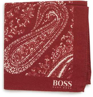 BOSS Paisley Cotton & Wool Pocket Square
