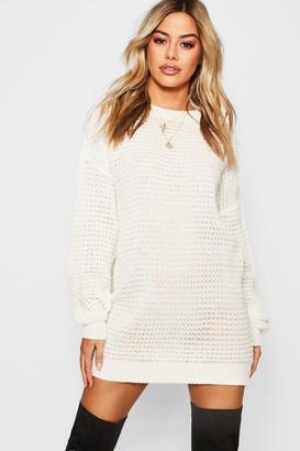 7b3f6e510f3 boohoo Petite Waffle Knit Oversized Sweater Dress