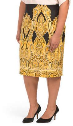 Plus Printed Scuba Pencil Skirt