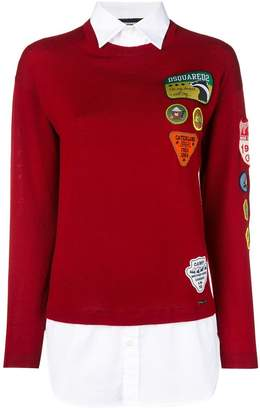 DSQUARED2 badge and patch sweater