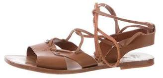 Tomas Maier Leather Lace-Up Sandals