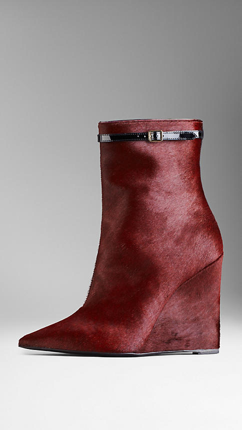 Burberry Patent Strap Calfskin Wedge Boots