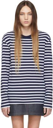 MAISON KITSUNÉ White and Navy Striped Fox Patch T-Shirt