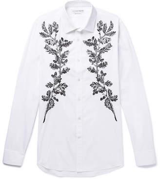 Alexander McQueen Embroidered Cotton-Poplin Shirt