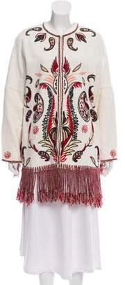 Rachel Zoe Embroidered Fringe Jacket