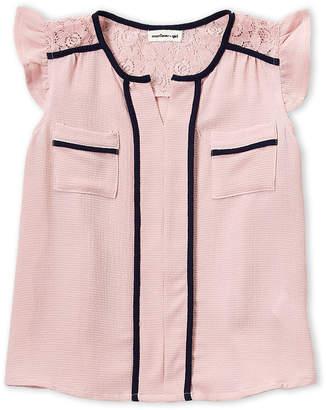 Monteau Girl (Girls 4-6x) Blush Flutter Sleeve Top