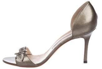 Manolo Blahnik Embellished Patent Leather Sandals