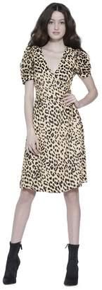 Alice + Olivia Rosette Puff Sleeve Midi Dress