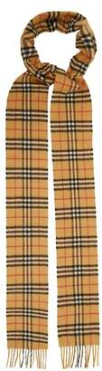 Burberry Classic Skinny Vintage Check Cashmere Scarf - Womens - Brown