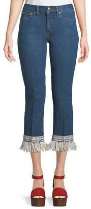 Tory Burch Connor Fringe-Bottom Cropped Jeans